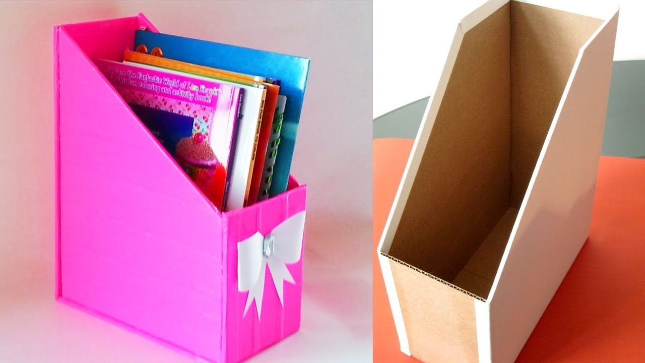 Diy Magazine Holder Cardboard Storage File Organizer Waste