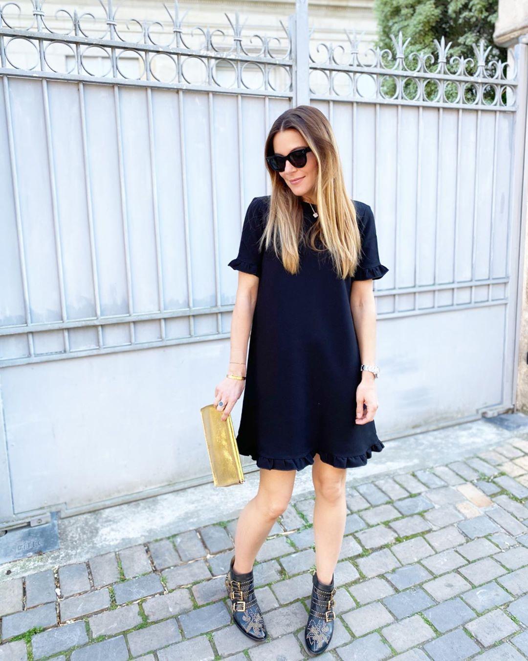 Black Mini Dress Black Studded Ankle Boots Gold Clutch Black Sunglasses Summer Casual Date Outfit 2020 Black Boots Outfit Boots Outfit Ankle Outfits [ 1350 x 1080 Pixel ]
