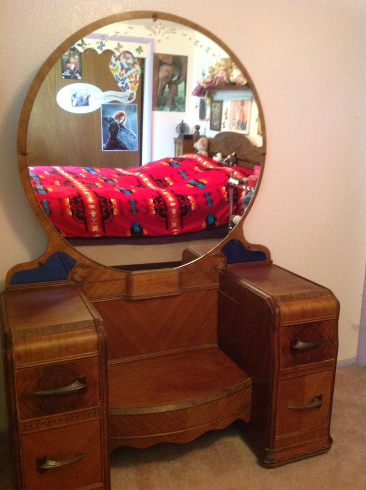 Anique Vanity Dresser With Round Mirror And 4 Drawers Ebay Art Deco Dresser Vanity Round Mirrors