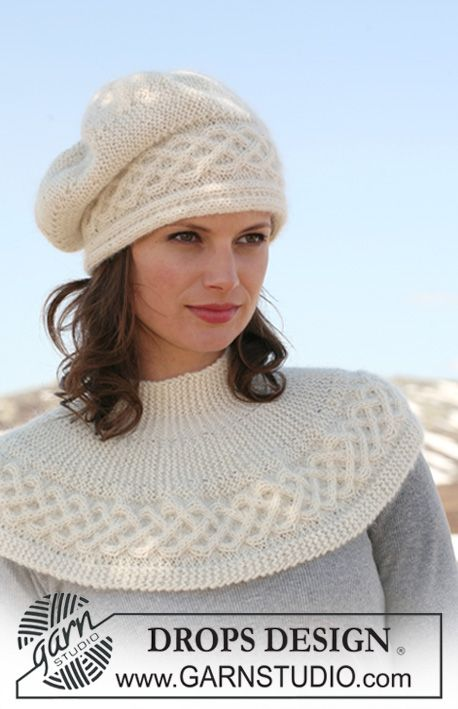 DROPS Basque hat and shoulder wrap with cables knitted from side to ...