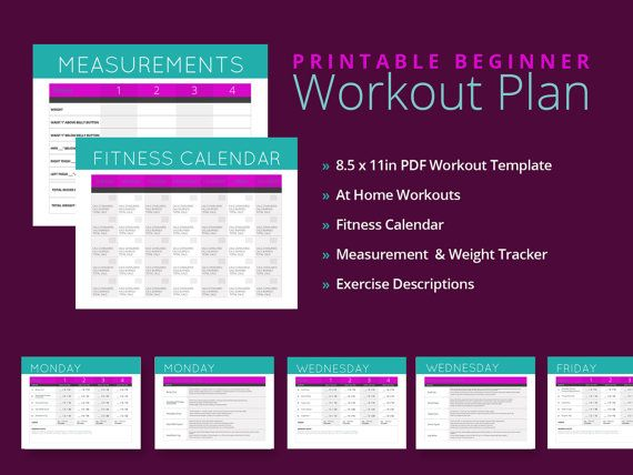 At Home Beginner Workout Plan by tonedstrength on Etsy, $1995