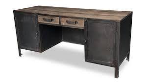 Bureau tréteaux fer forgé et bois style industriel cm cadeau