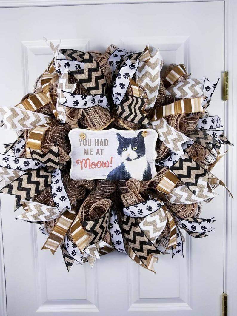 Cat wreath vet clinic pet lovers wreath front door decor