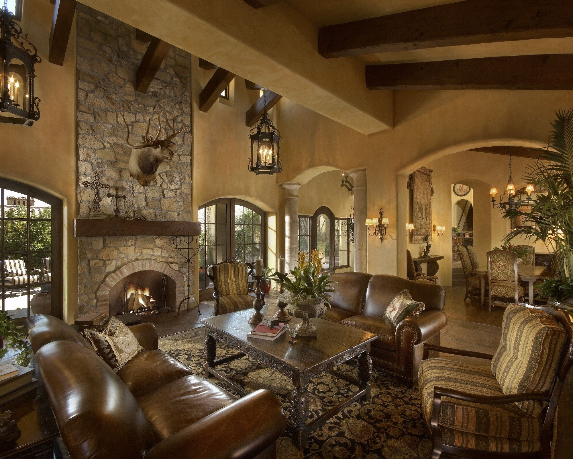 Old World Living Rooms Trophy Sets The Tone For This Mediterranean Old World Living Room