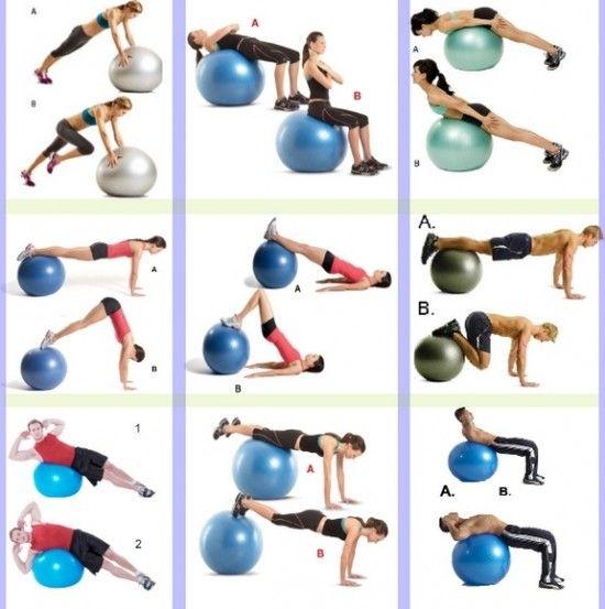 Super 20 exercices de gainages et renforcement avec le Swissball | Idées  XY83