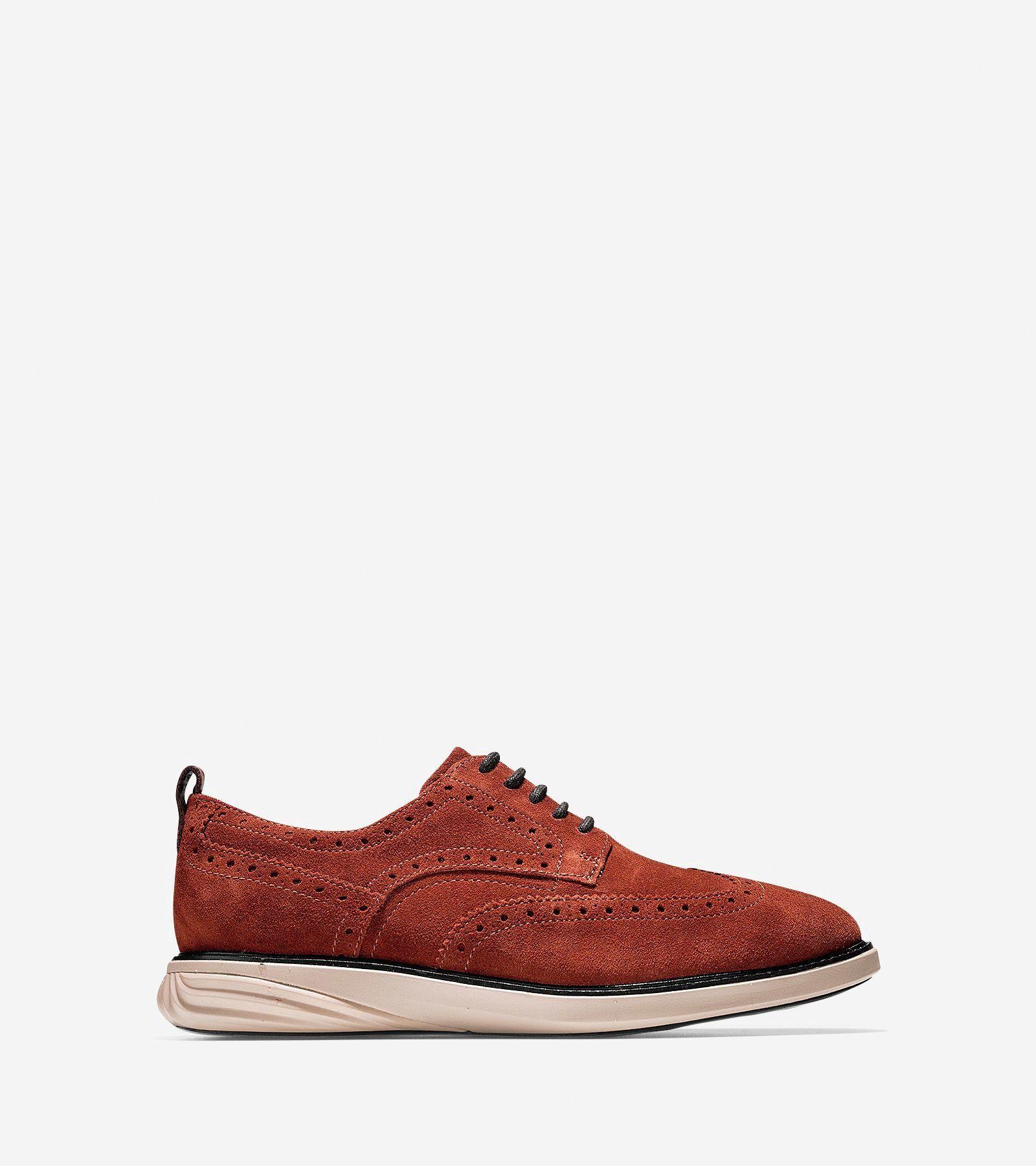 COLE HAAN Men's GrandEvølution Wingtip Oxford - Brandy Brown-cobblestone. # colehaan #shoes