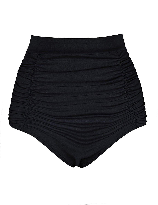 2d11c8fba409f Women s Retro High Waisted Bikini Bottom Ruched Swim Shorts Tankini Brief -  Black - C817Z79AIL8