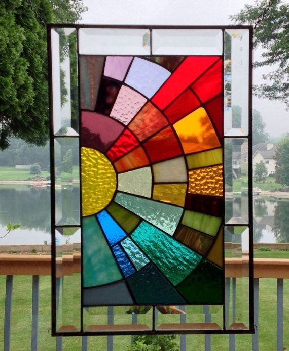 Beveled Stained Glass Window Panel Rainbow Arch Geometric Stained Glass Diy Stained Glass Designs Stained Glass Windows