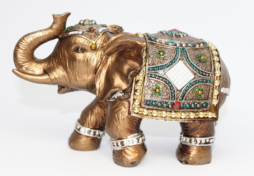 "Feng Shui 4/"" Gray Elephant Figurine Wealth Lucky Figurine Gift /& Home Decor"