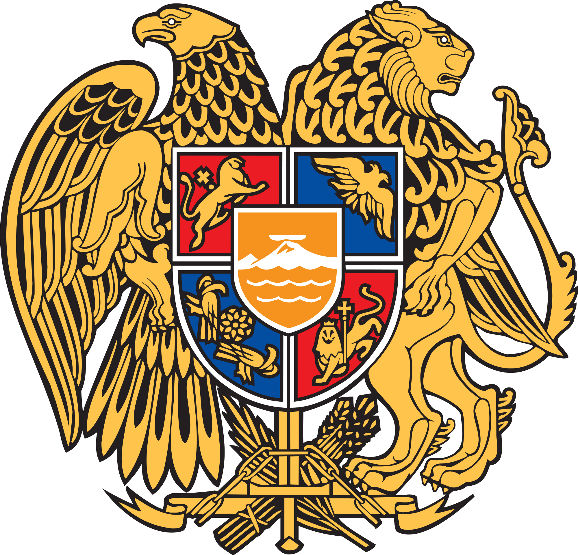 The republic of armenia declared its independence on the 21st of the coat of arms of armenia consists of an eagle and a lion supporting a shield the coat of arms combines new and old symbols the eagle and lion are biocorpaavc Images