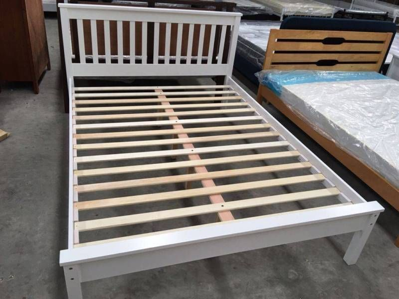Brand New】Monaco Rubber wood Bed Frame Double/Queen Size White ...