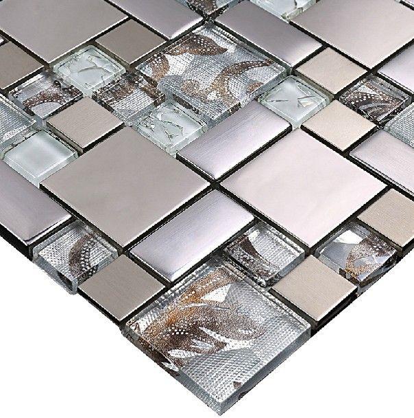 Glass Mosaic Tile Backsplash Ssmt111 Silver Metal Mosaic Stainles Glass Mosaic Backsplash Kitchen Stainless Steel Tile Backsplash Glass Tile Backsplash Kitchen