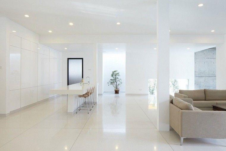 diseño cocinas abiertas salon estilo minimalista armarios blancos ...