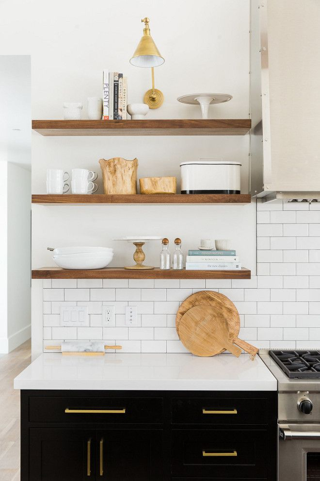 Kitchen floating shelves are made of rift sawn white oak ...
