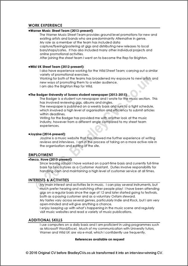 examples of good and bad cvs Resume cover letter