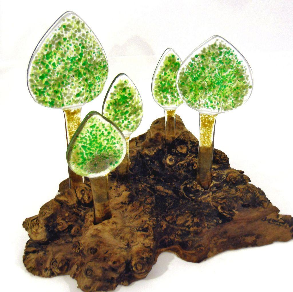 Fused glass trees set in Burr Elm