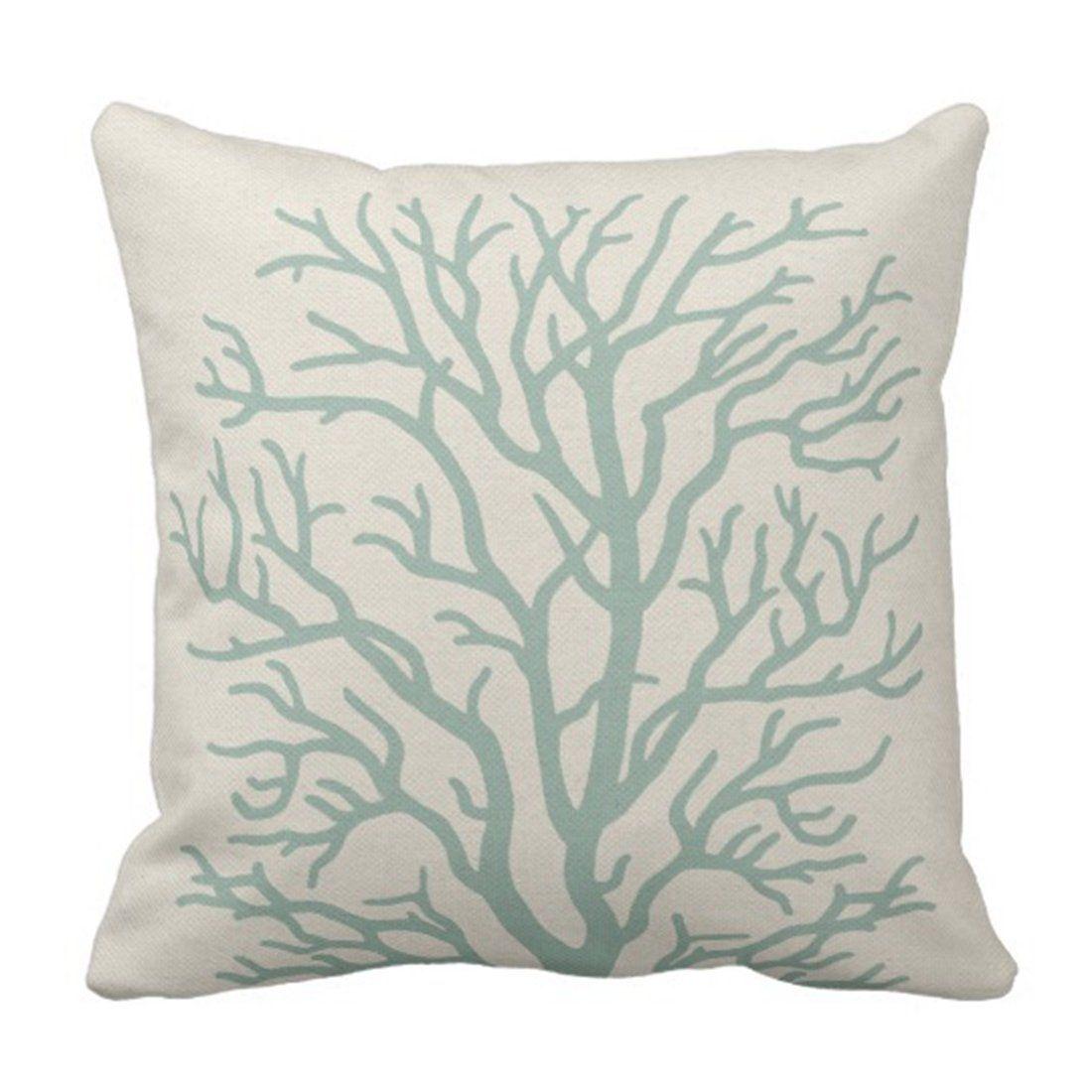 Tan Reef Coral Tree In Seafoam Branches Pillowcase Cushion Cover