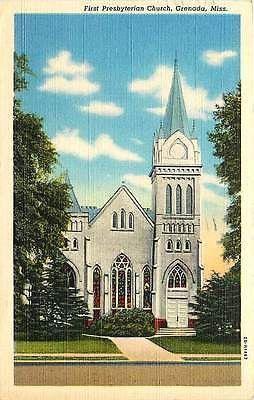 Grenada Mississippi MS 1942 First Presbyterian Church Antique Vintage Postcard