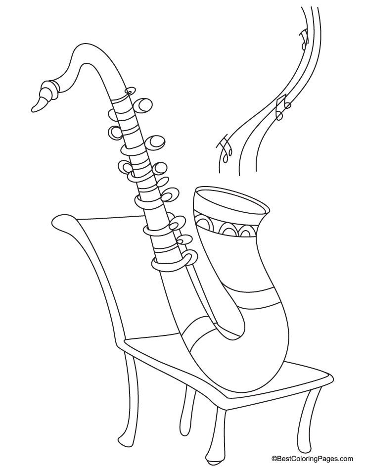 Saxophone Coloring Page Adult Coloring Book Pagesmore Pins Like