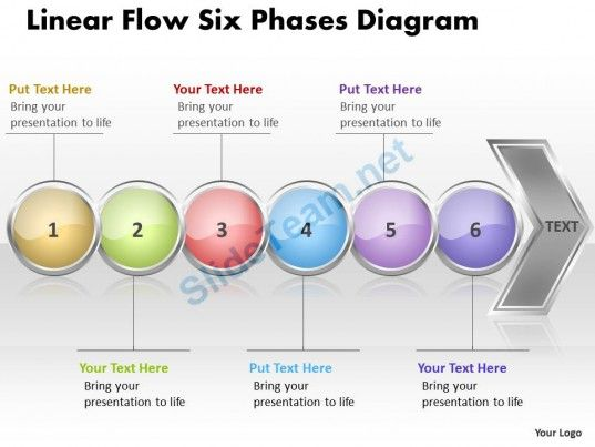 Business Powerpoint Templates Linear Flow Six Phases Diagram Free