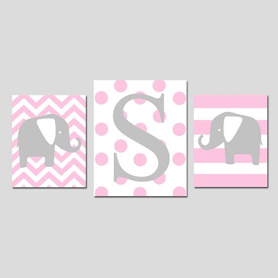 Baby Girl Nursery Decor Art Elephant Initial Trio - Set of Three ...