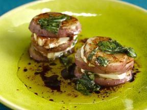 Grilled Potato and Goat Cheese Napoleon with Balsamic-Basil Vinaigrette.  Yum!!!