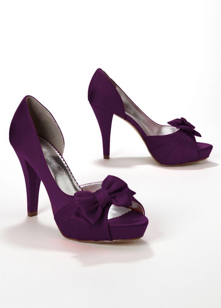 Davids Bridal Wedding Bridesmaid Shoes Satin Peep Toe Platform High Heel W