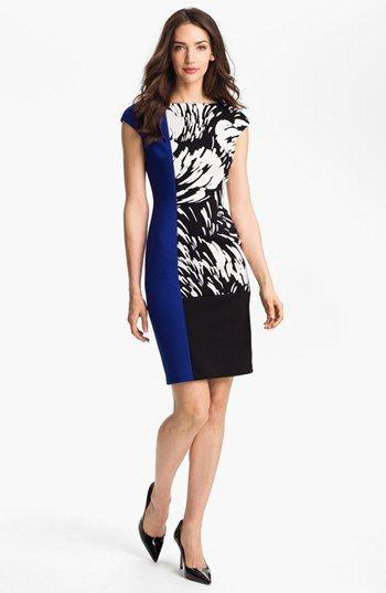 961efe4a6e75 Maggy London Colorblock Print Sheath Dress (Petite)
