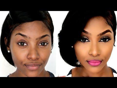 How To Drugstore Contour Highlight Foundation For Black Women Makeup Tutorial 201 Black Women Makeup Tutorial Makeup For Beginners Affordable Makeup Brushes