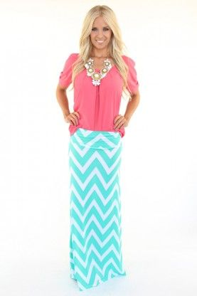Jade Chevron Maxi Skirt