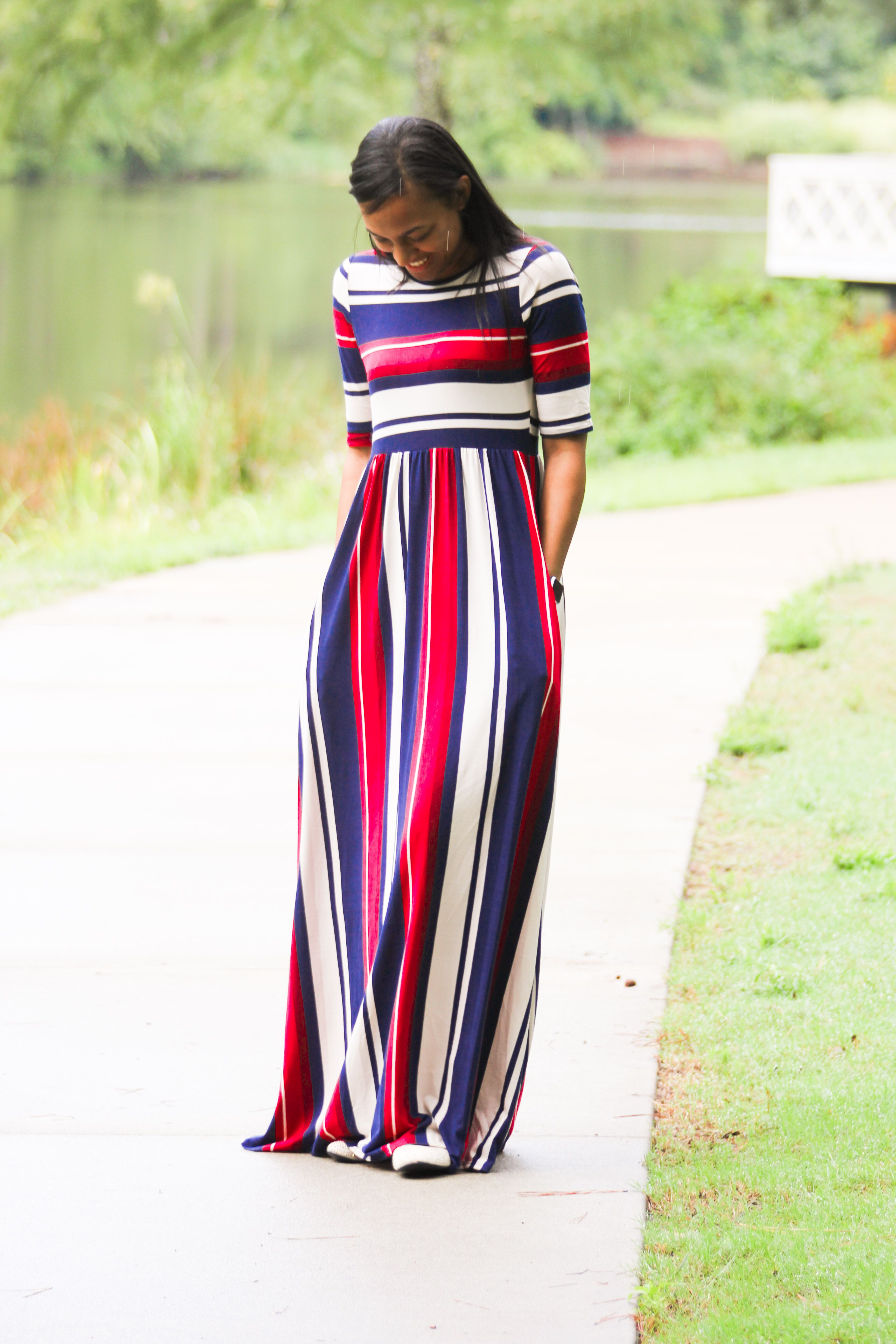 Mackenzie is a mixed striped modest half sleeve maxi dress with