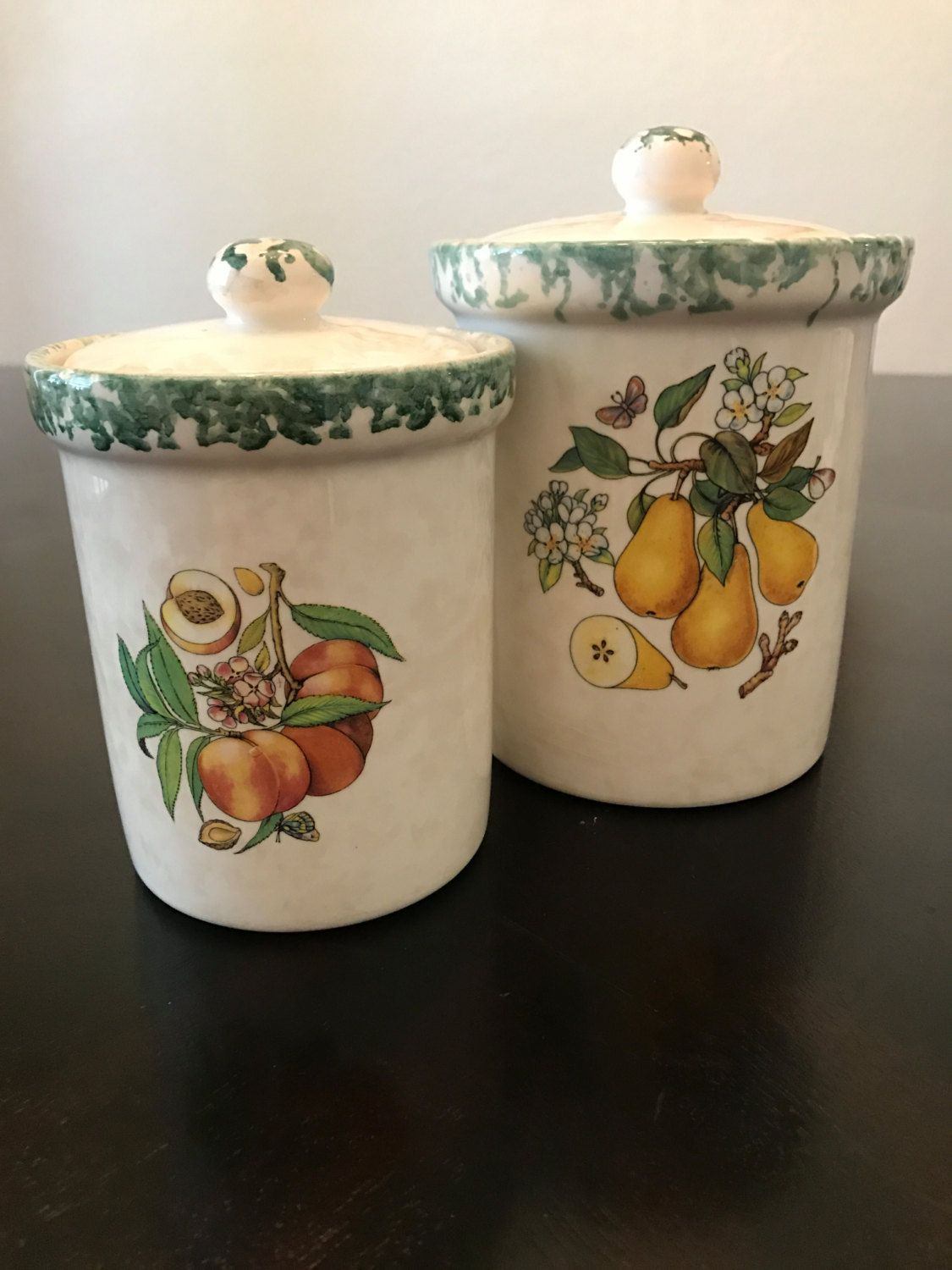 vintage himark ceramic pear canister made in italy kitchen ware