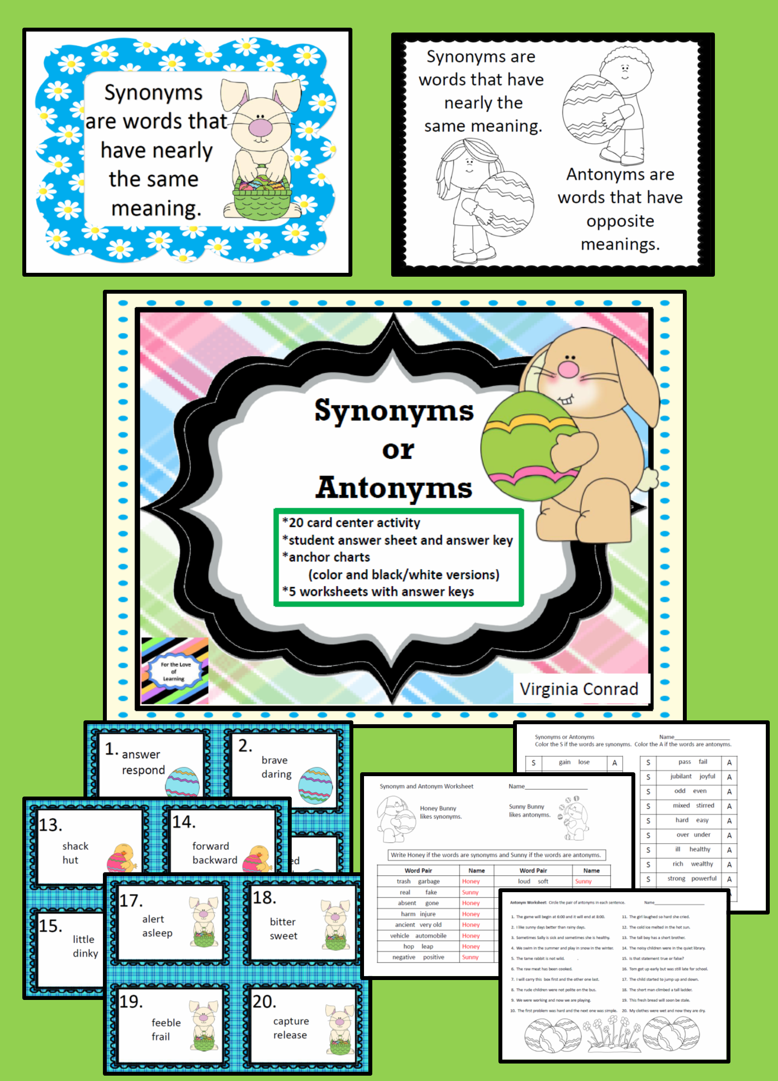 Synonyms And Antonyms Task Cards And Worksheets Easter