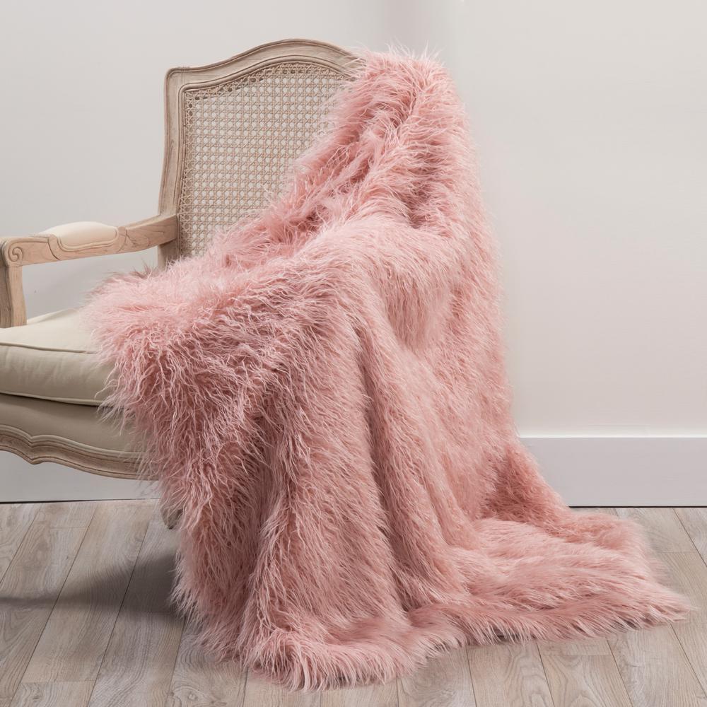 Best Home Fashion Faux Mongolian Lamb Fur 60 In L Pink Throw Throw Lamb 60 Pink The Home Depot Pink Throw Blanket Fur Throw Blanket Throw Blanket