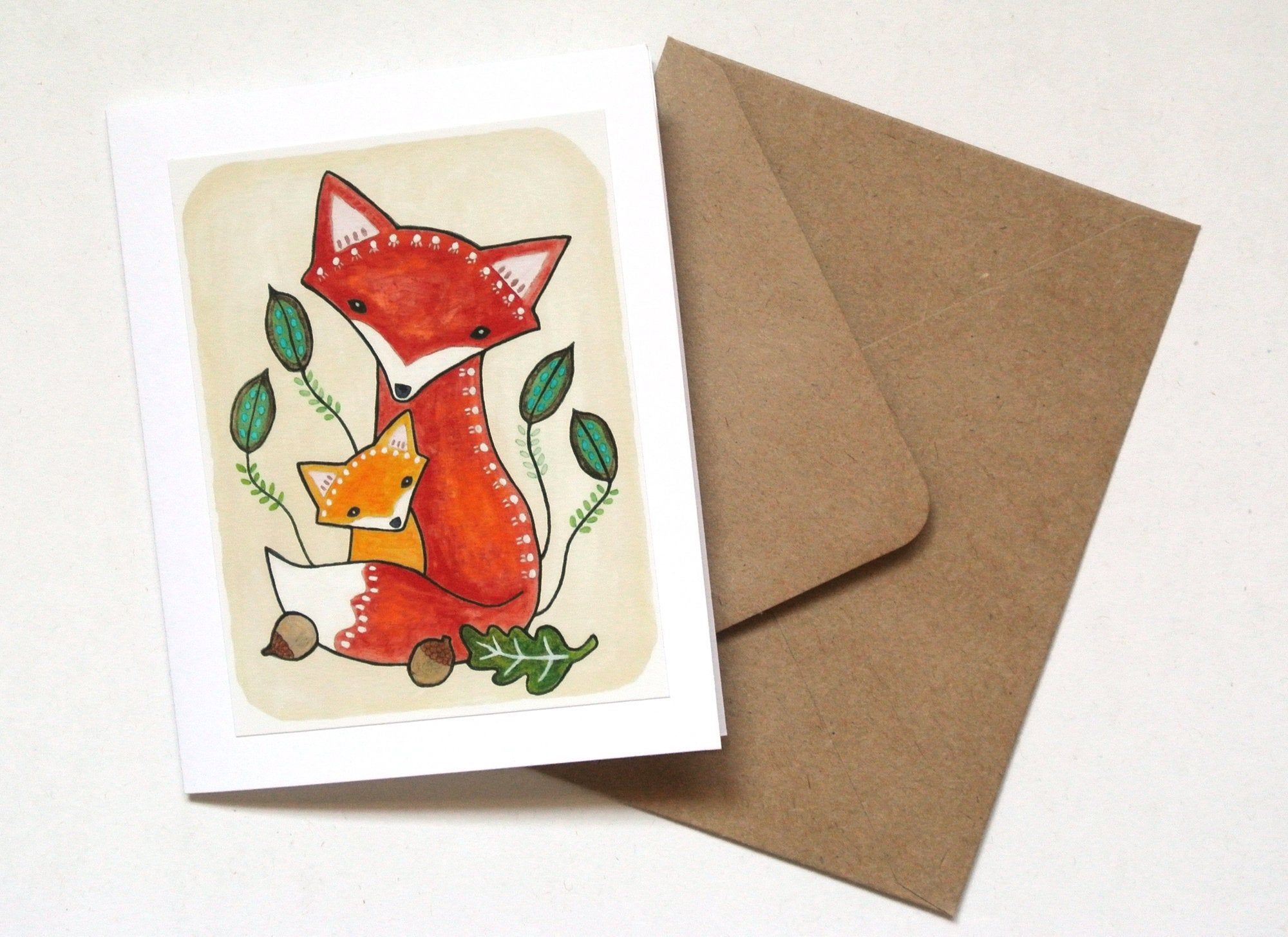 Fox Mom Baby Handmade Greeting Card Congratulations On New Baby