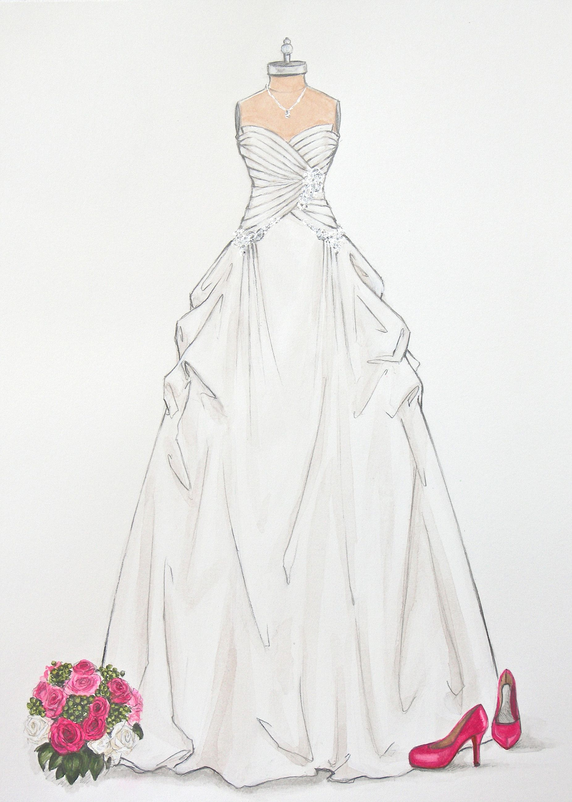 porfolio of custom wedding dress sketches and
