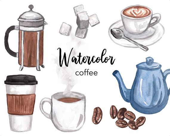 Watercolor Clipart Coffee Clipart Coffee Cup Pot Sugar Cubes