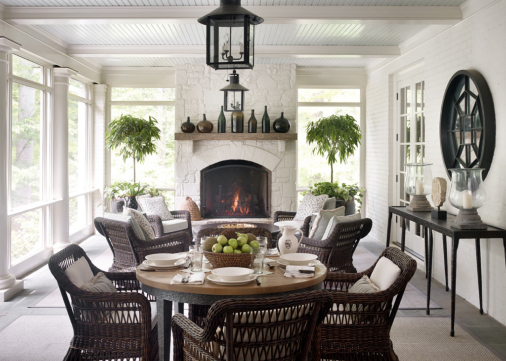 Porch Inspiration European Home Decor Porch Fireplace Sunroom Decorating