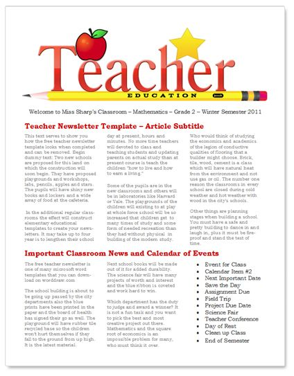 Teacher Newsletter Template For Classroom  Teacher Freebies