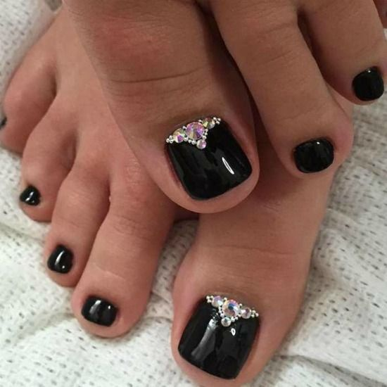 Black Rhinestones Toe Nail Art Design - 35 Simple And Easy Toe Nail Art Design Ideas You Can Try Out At Home