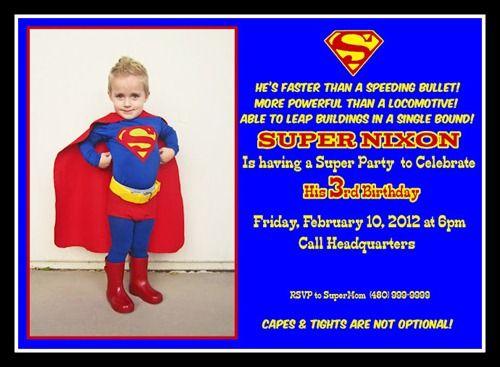 Superman invitation ideas Ians 5th Bd Pinterest Superman