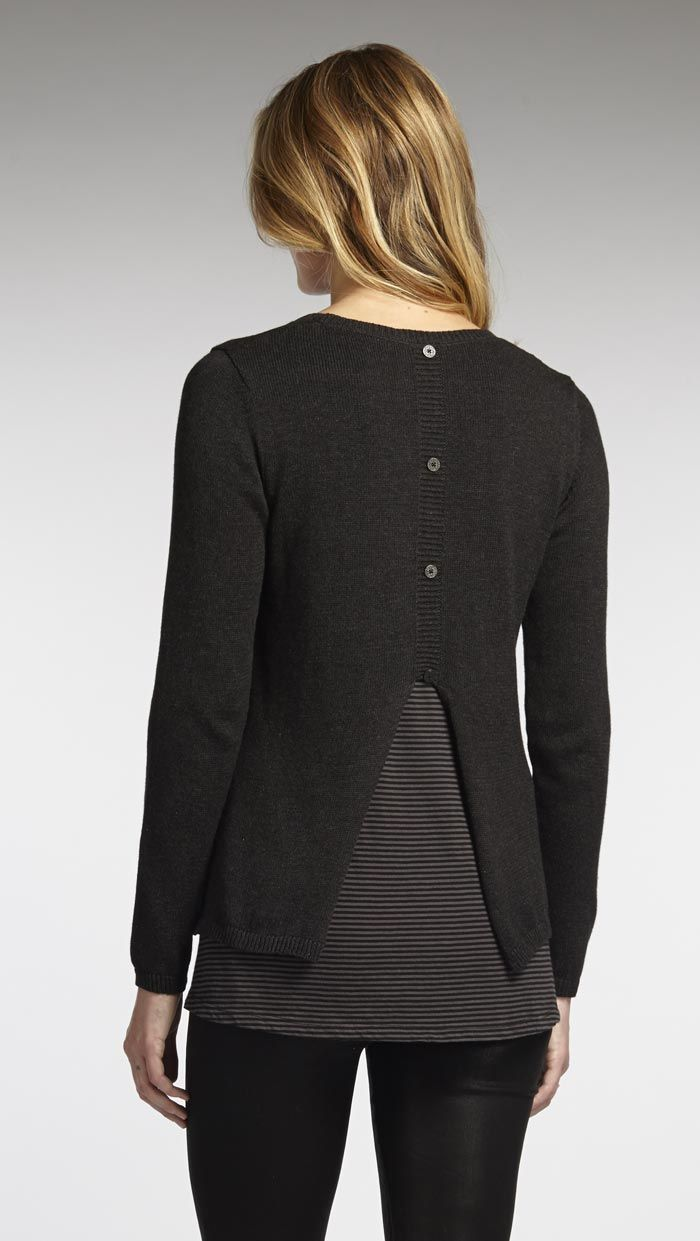Black t shirt under button down - The Mixed Media Pullover With Button Down Back And Jersey Under Layer