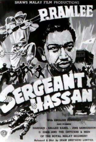 Old Cinema Poster Ad  Malay War Movie Sergeant Hassan Starring