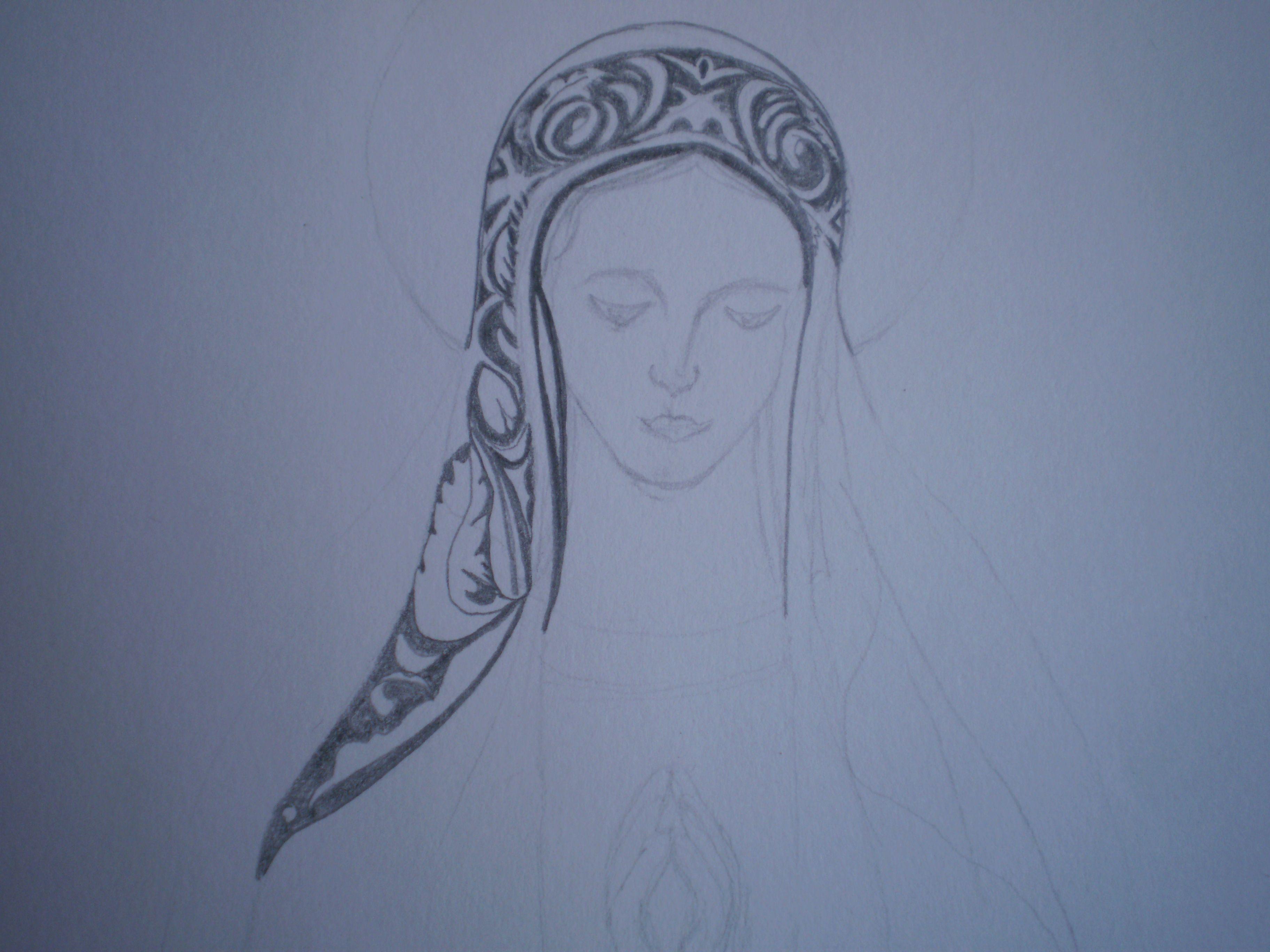 Proceso dibujo Virgen de Fátima