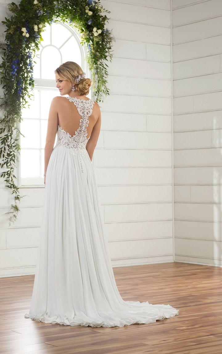 boho wedding dress - modern halter neckline wedding gown
