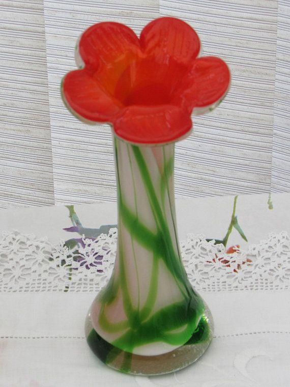 Murano Glass Vase Flower Shaped Vase Orange Green And White Glass