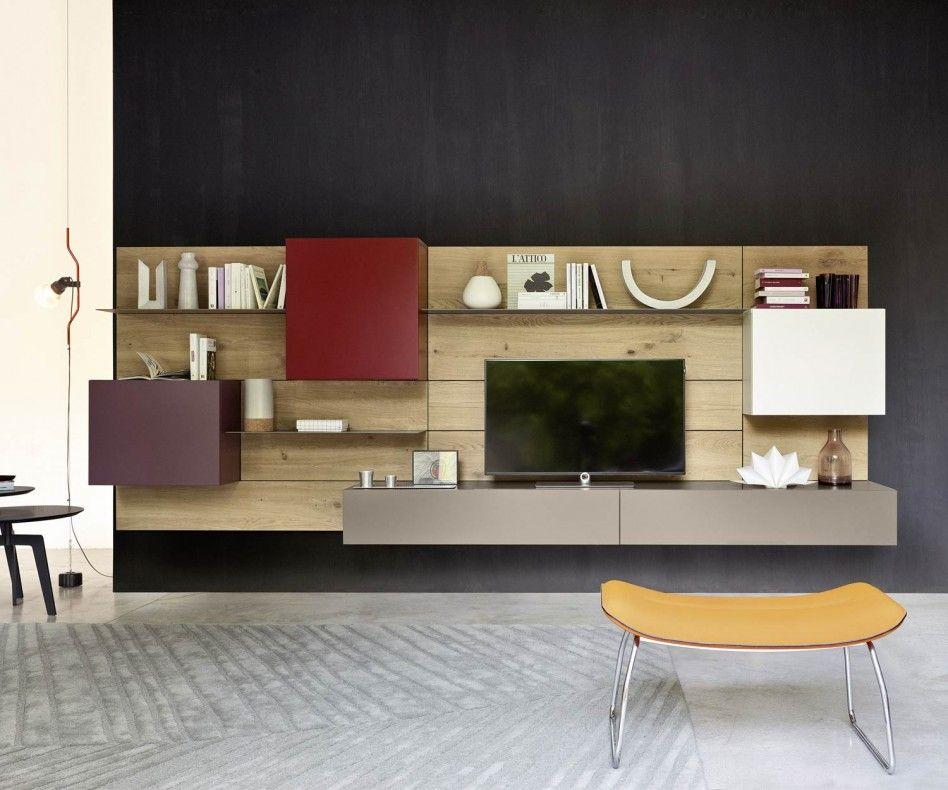 Livitalia Wohnwand C37 TVs - hängeschrank wohnzimmer weiß