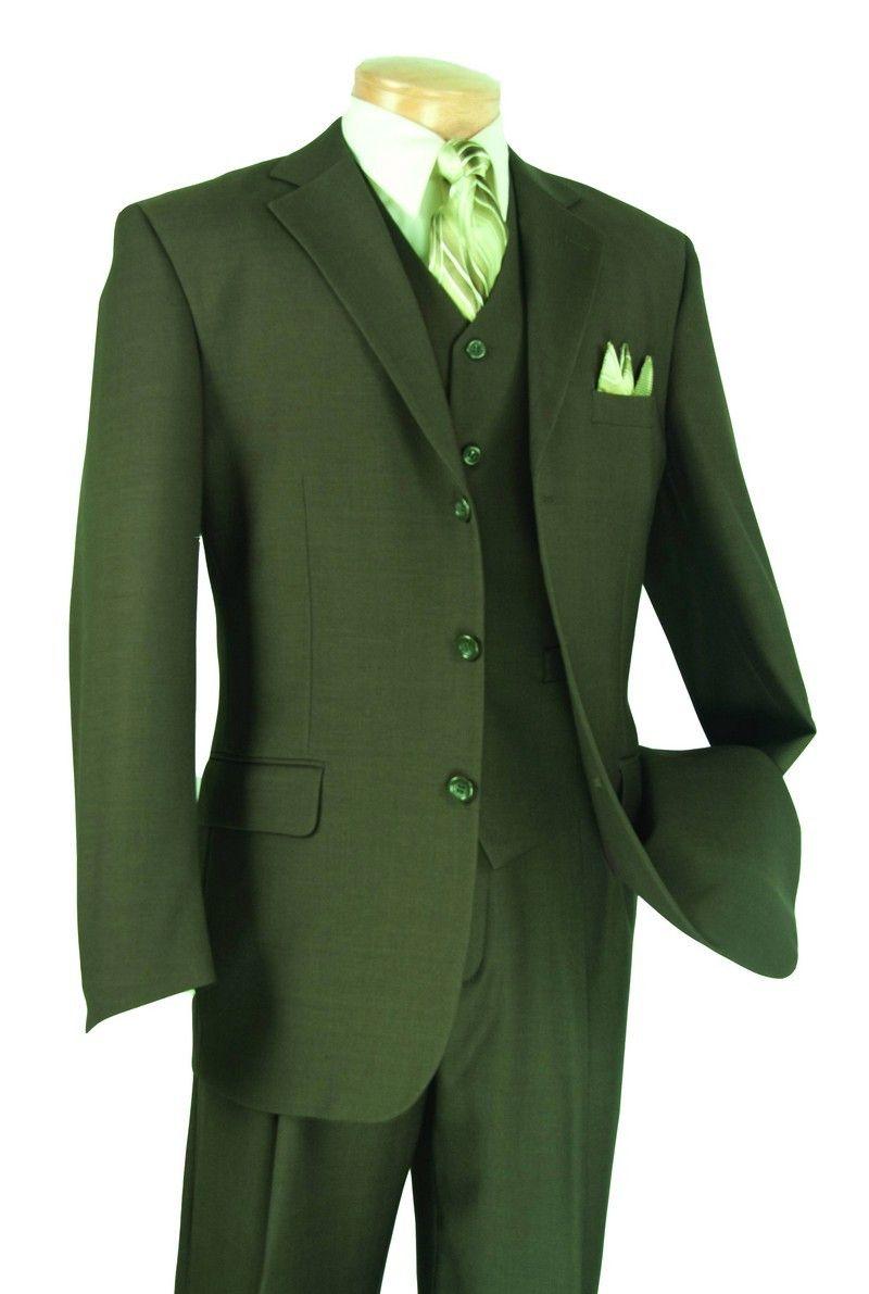 VINCI Men/'s Olive Windowpane Plaid Wool 2 Button Slim Fit Business Suit NEW