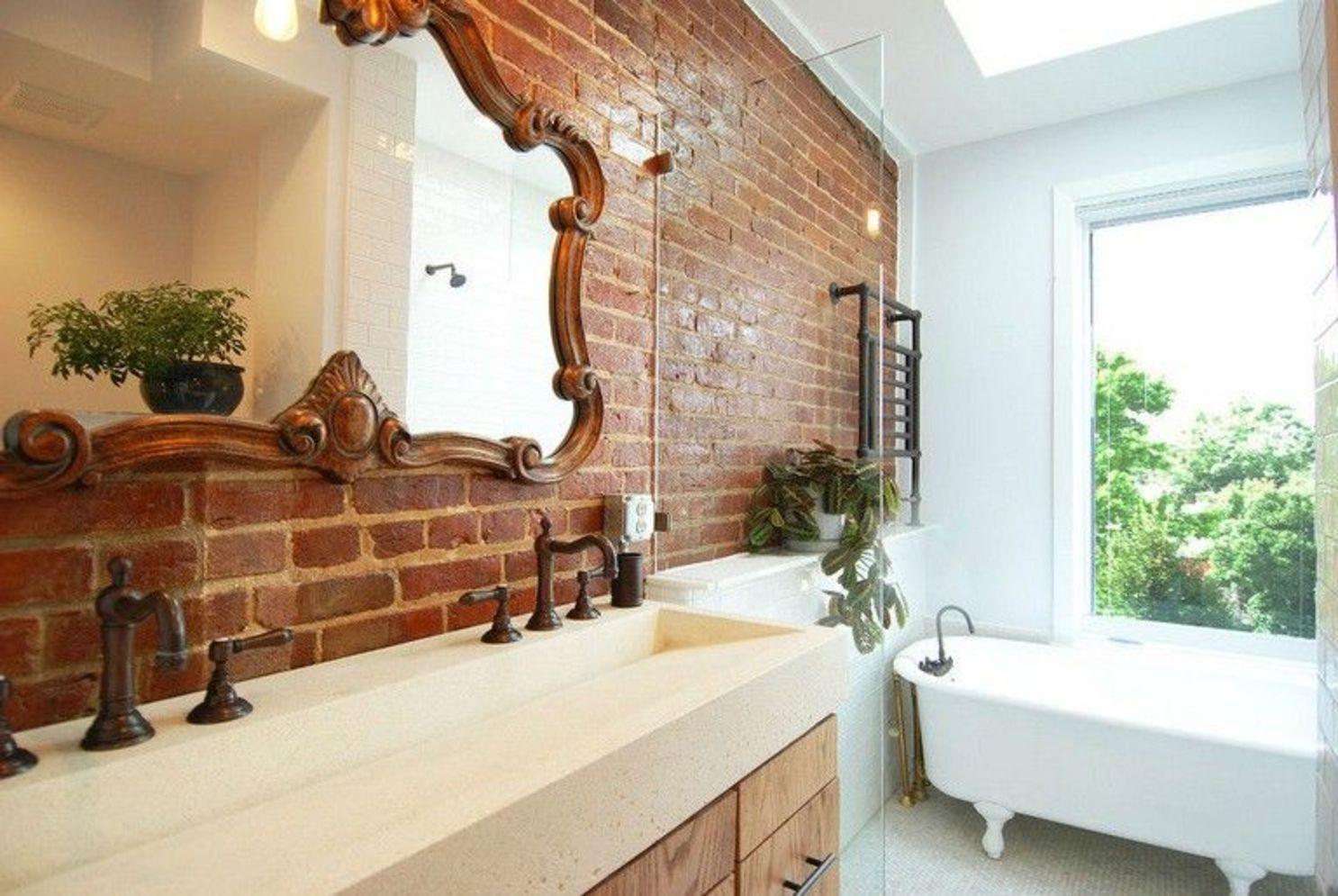 exposed brick bathroom ideas you must see  modern