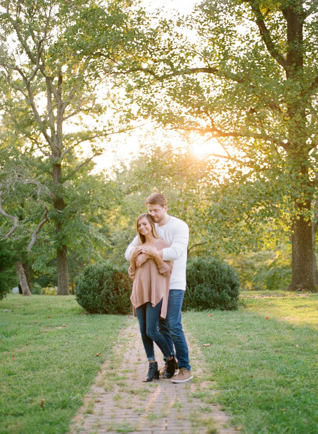 Sunset engagement session at Queeny Park; St. Louis fine